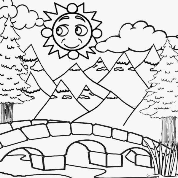 Tranh vẽ đen trắng ông mặt trời ngộ nghĩnh cho bé tô màu (3)