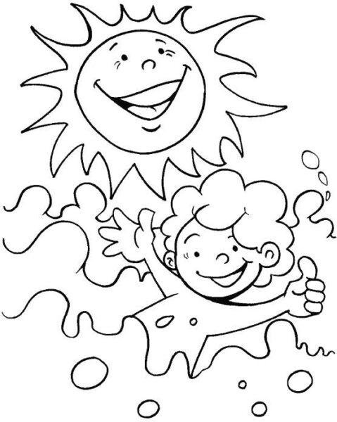 Tranh vẽ đen trắng ông mặt trời ngộ nghĩnh cho bé tô màu (6)