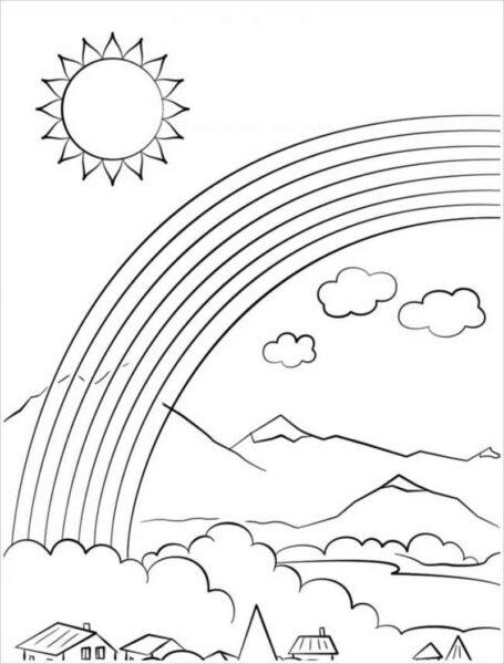 Tranh vẽ đen trắng ông mặt trời ngộ nghĩnh cho bé tô màu (8)