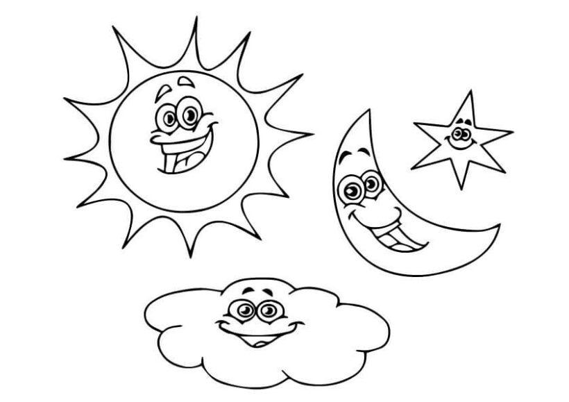 Tranh vẽ đen trắng ông mặt trời ngộ nghĩnh cho bé tô màu (9)