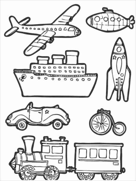 Tranh vẽ đen trắng phương tiện giao thông cho bé tô màu (4)
