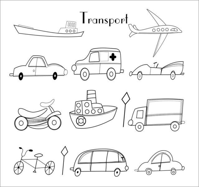 Tranh vẽ đen trắng phương tiện giao thông cho bé tô màu (7)