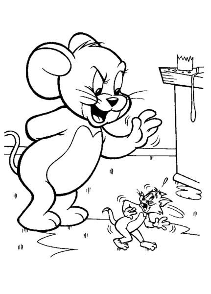 Tranh vẽ đen trắng Tom and Jerry cho bé tập tô (2)