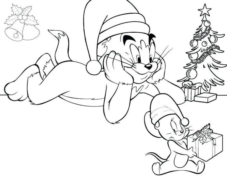 Tranh vẽ đen trắng Tom and Jerry cho bé tập tô (5)