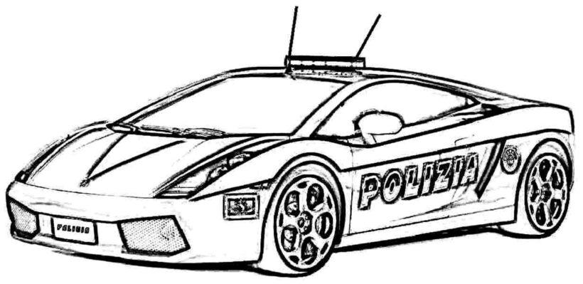 Tranh vẽ đen trắng xe cảnh sát cho bé tập tô (1)