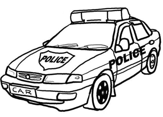 Tranh vẽ đen trắng xe cảnh sát cho bé tập tô (2)