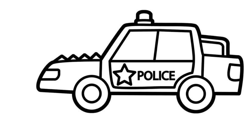Tranh vẽ đen trắng xe cảnh sát cho bé tập tô (3)