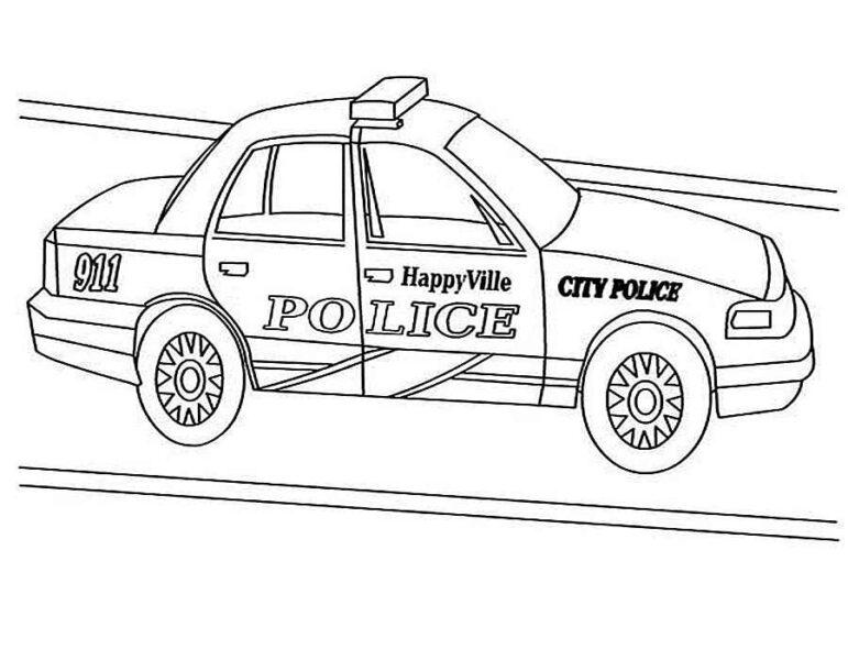 Tranh vẽ đen trắng xe cảnh sát cho bé tập tô (4)