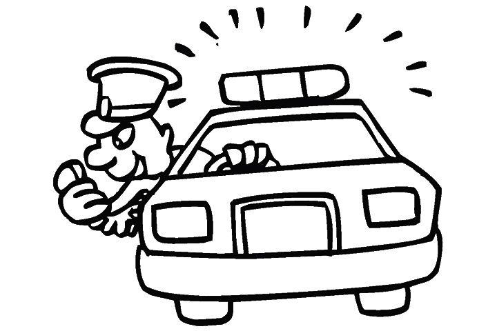 Tranh vẽ đen trắng xe cảnh sát cho bé tập tô (5)