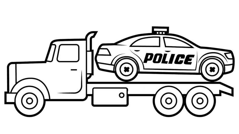 Tranh vẽ đen trắng xe cảnh sát cho bé tập tô (6)