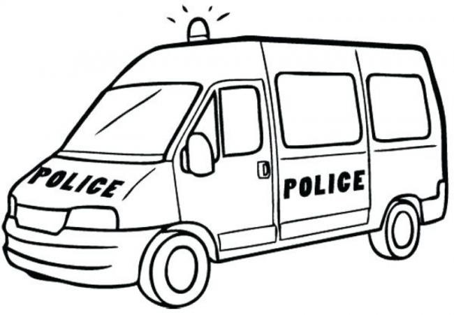 Tranh vẽ đen trắng xe cảnh sát cho bé tập tô (7)
