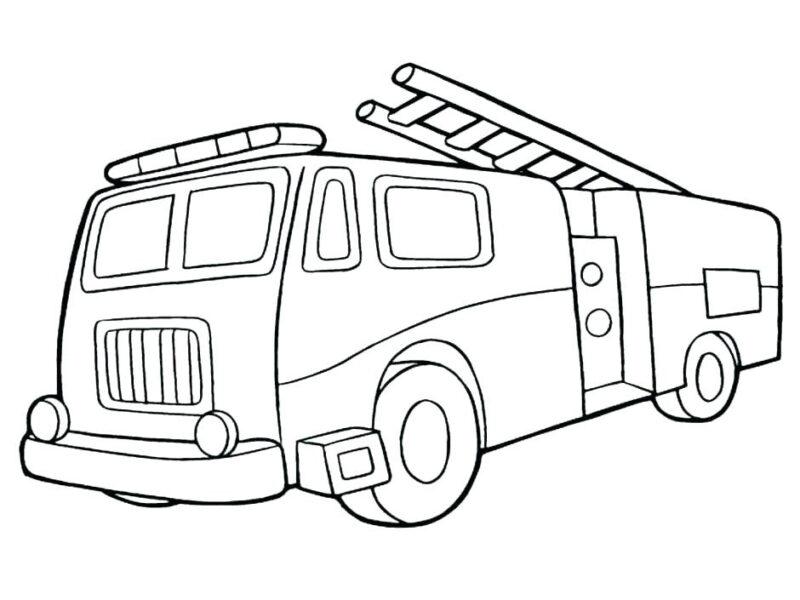 Tranh vẽ đen trắng xe cứu hoả cho bé tô màu (1)