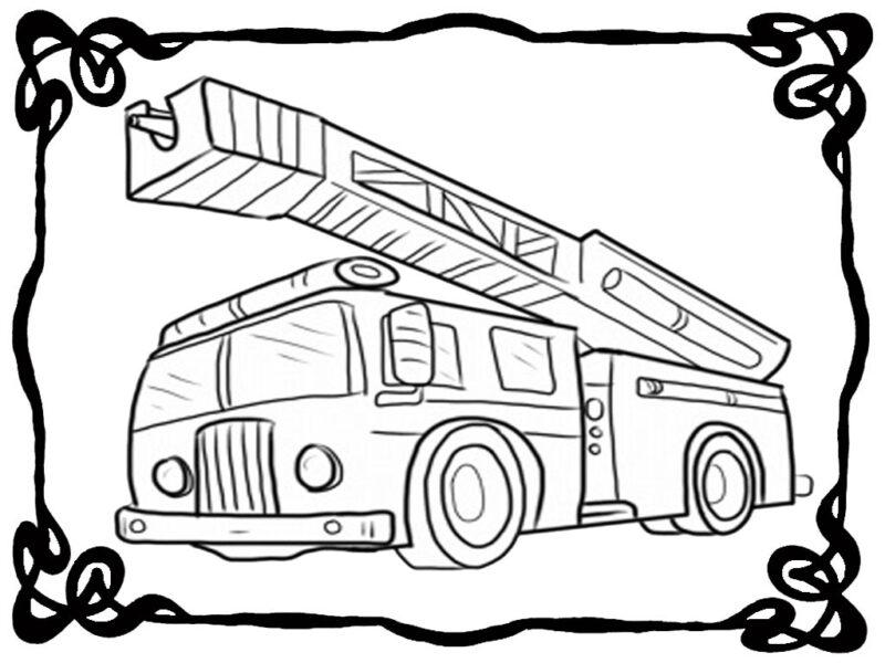 Tranh vẽ đen trắng xe cứu hoả cho bé tô màu (2)