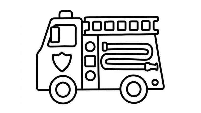 Tranh vẽ đen trắng xe cứu hoả cho bé tô màu (3)