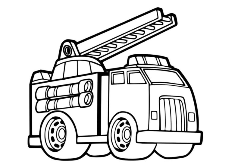 Tranh vẽ đen trắng xe cứu hoả cho bé tô màu (4)