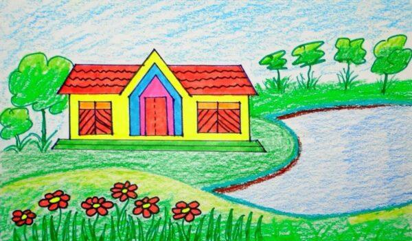 Tranh vẽ đẹp đơn giản của học sinh