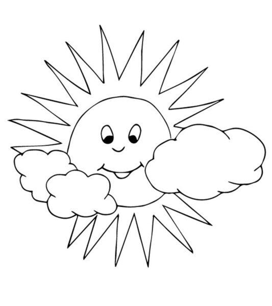 Vẽ ông mặt trời và những đám mây