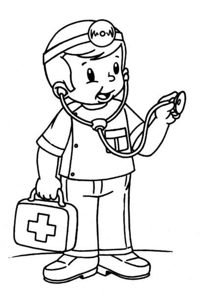 Ảnh vẽ bác sĩ cho bé tập tô (1)
