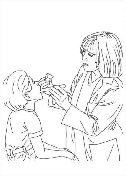 Ảnh vẽ bác sĩ cho bé tập tô (7)