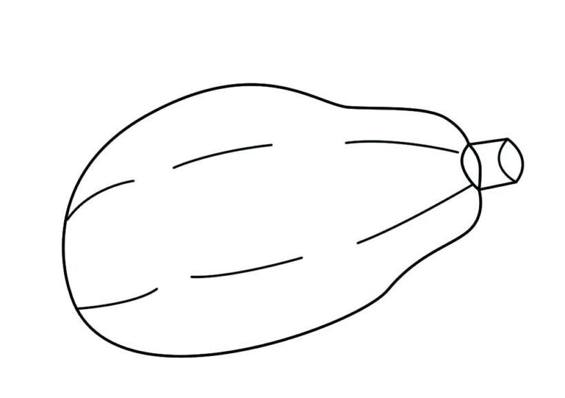 Ảnh vẽ tô màu quả đu đủ đẹp cho bé tập tô (30)