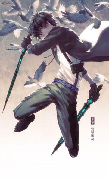 hình ảnh anime nam ngầu 2 tay cầm kiếm