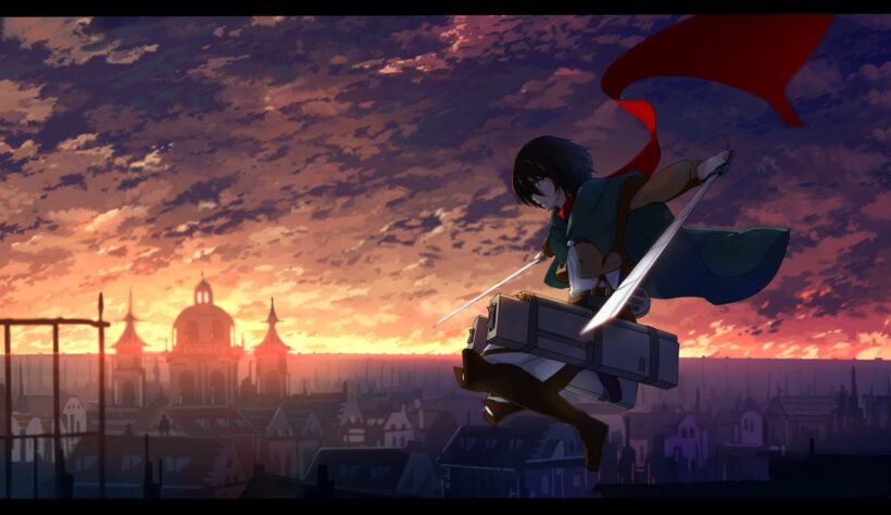 hình ảnh anime ngầu cầm kiếm bay trên không