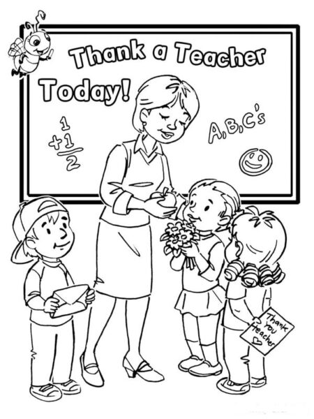 Hình tập tô cô giáo và học sinh cho bé tô màu (2)