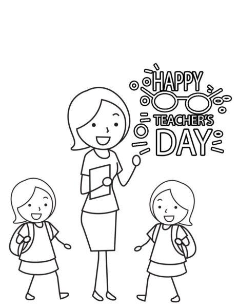 Hình tập tô cô giáo và học sinh cho bé tô màu (3)