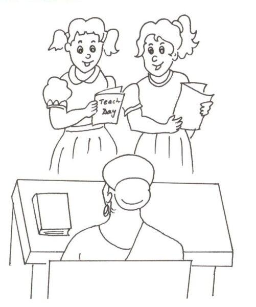 Hình tập tô cô giáo và học sinh cho bé tô màu (4)