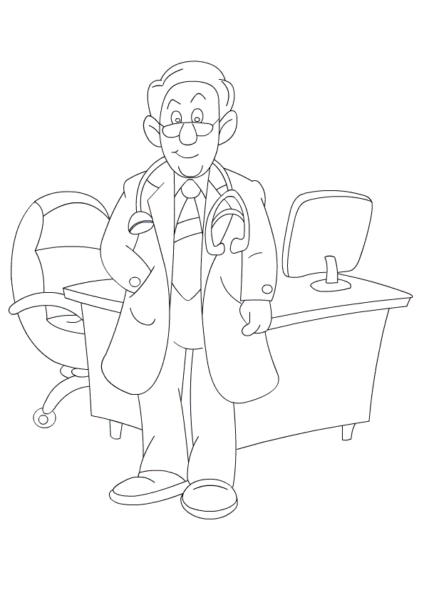 Hình tô màu bác sĩ cho bé tập tô (2)