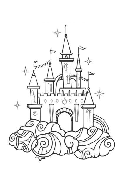 Hình tô màu lâu đài nguy nga cho bé tập tô (1)