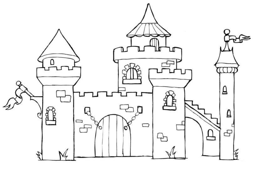 Hình tô màu lâu đài nguy nga cho bé tập tô (2)