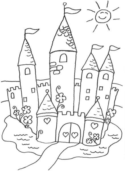 Hình tô màu lâu đài nguy nga cho bé tập tô (3)