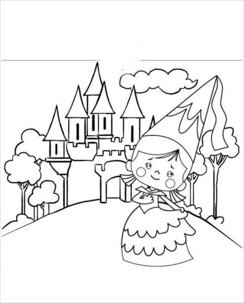 Hình tô màu lâu đài nguy nga cho bé tập tô (4)