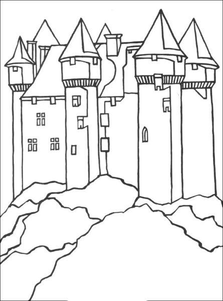 Hình tô màu lâu đài nguy nga cho bé tập tô (5)