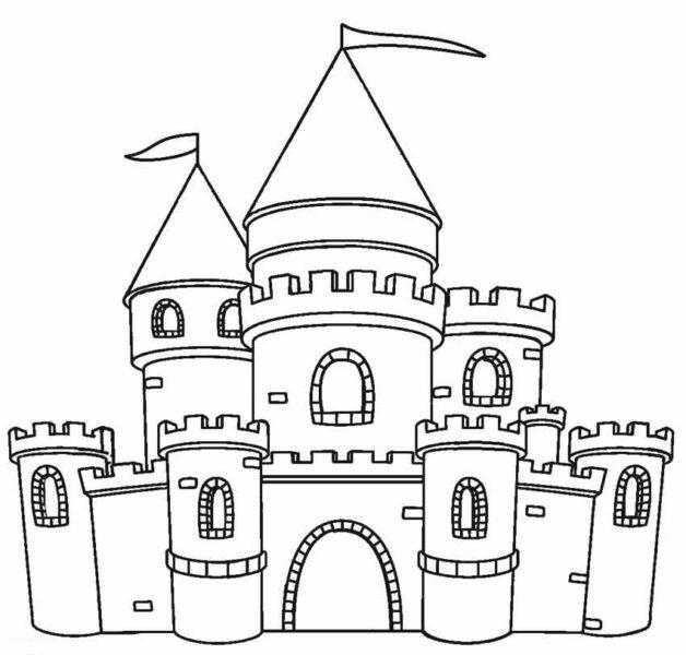 Hình tô màu lâu đài nguy nga cho bé tập tô (6)