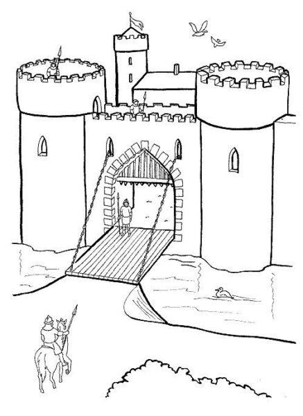 Hình tô màu lâu đài nguy nga cho bé tập tô (7)
