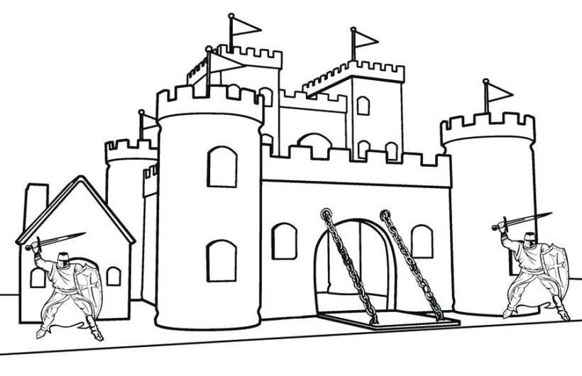 Hình tô màu lâu đài nguy nga cho bé tập tô (8)