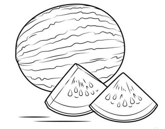 Hình tô màu quả dưa hấu cho bé tập tô (5)
