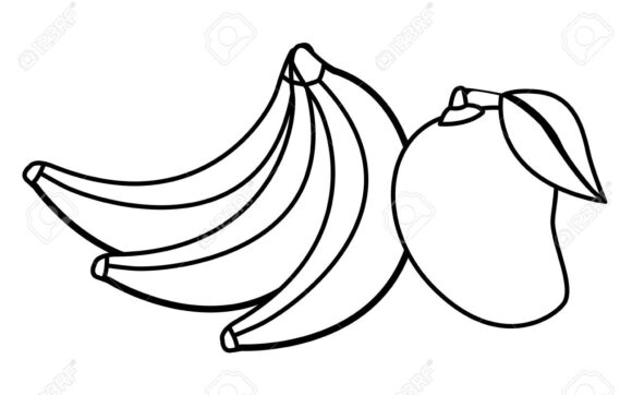 delicious mix of fruit cartoon in black and white