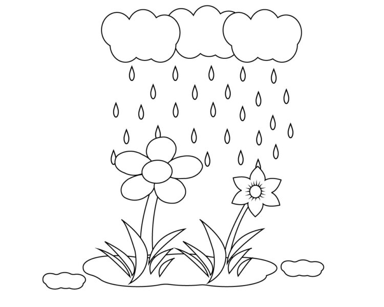 Hình tô màu trời mưa đẹp nhất cho bé tập tô (2)