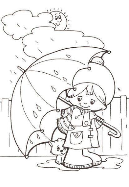 Hình tô màu trời mưa đẹp nhất cho bé tập tô (6)