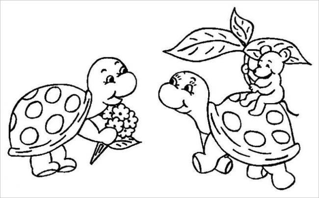 Hình tô mù con rùa cho bé tập tô (5)