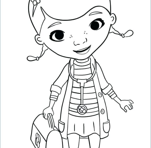 Hình vẽ chưa tô màu bác sĩ đẹp nhất cho bé tập tô (1)