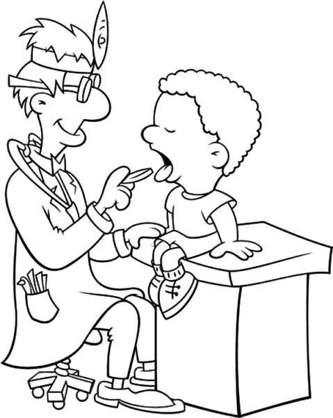Hình vẽ chưa tô màu bác sĩ đẹp nhất cho bé tập tô (2)