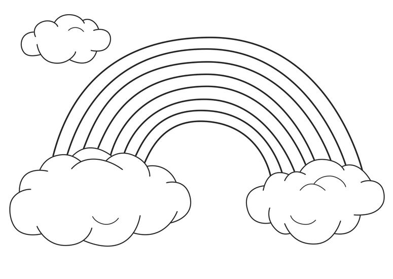 Hình vẽ chưa tô màu cầu vồng đáng yêu cho bé tập tô (2)