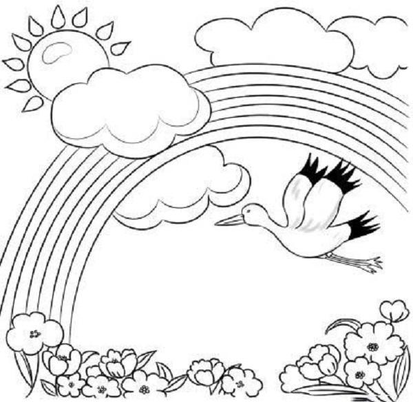 Hình vẽ chưa tô màu cầu vồng đáng yêu cho bé tập tô (3)