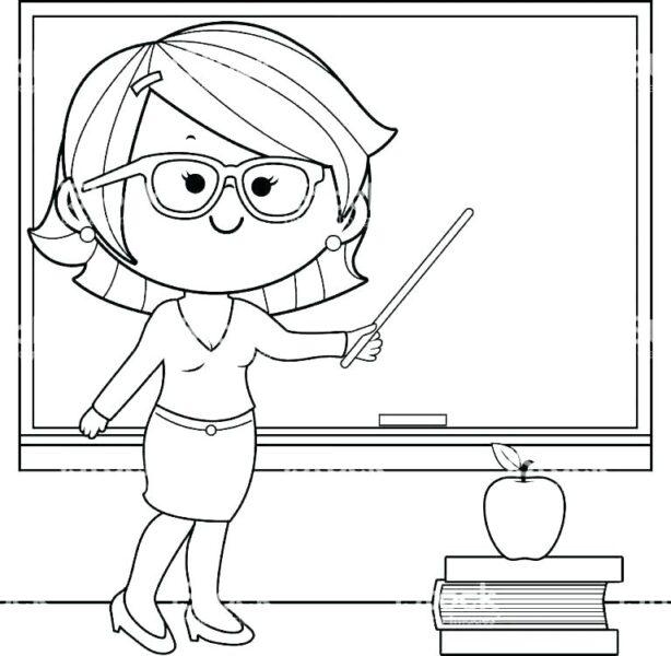 Hình vẽ chưa tô màu cô giáo và học sinh cho bé tập tô (2)