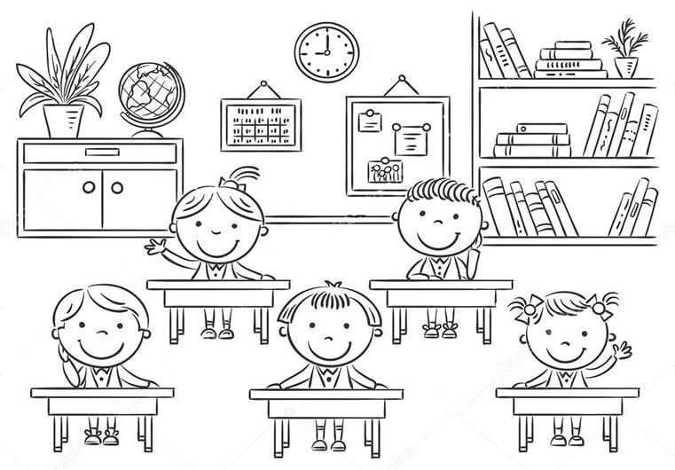 Hình vẽ chưa tô màu cô giáo và học sinh cho bé tập tô (4)