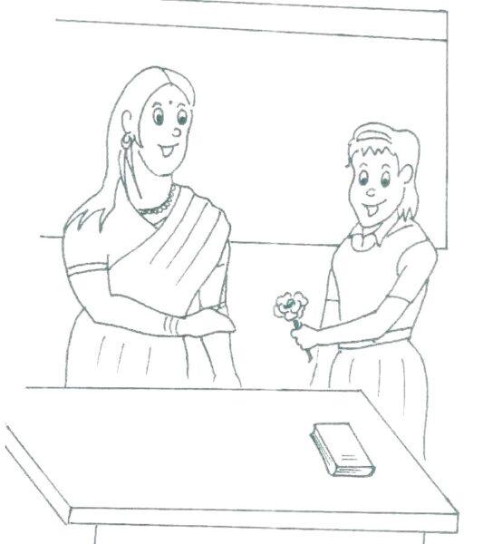 Hình vẽ chưa tô màu cô giáo và học sinh cho bé tập tô (5)